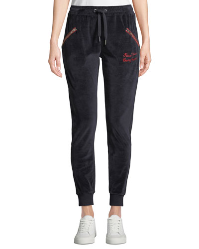 Embroidered Velour Jogger Sweatpants