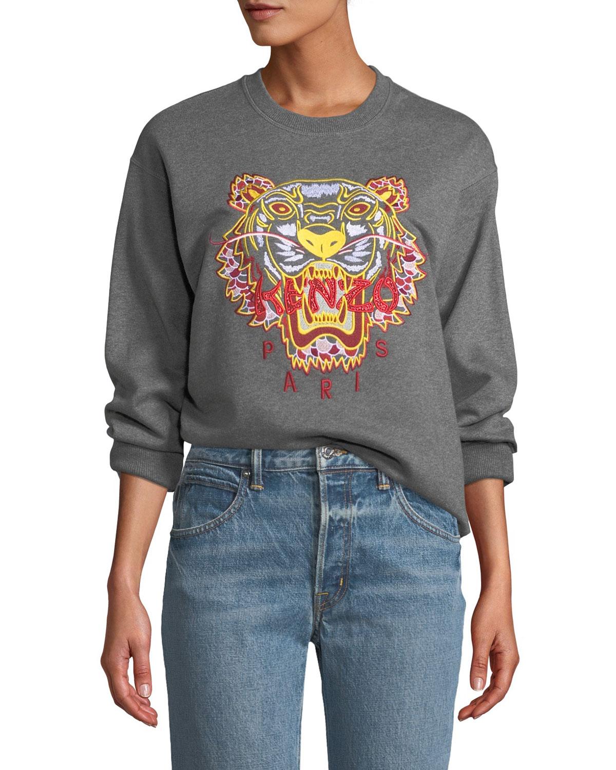 Dragon Tiger Logo Crewneck Pullover Sweatshirt in Grey