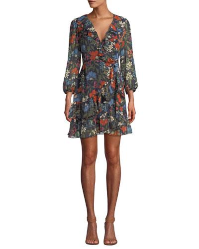 Floral Print Ruffle Trim Dress   Neiman Marcus 5603475f60e4