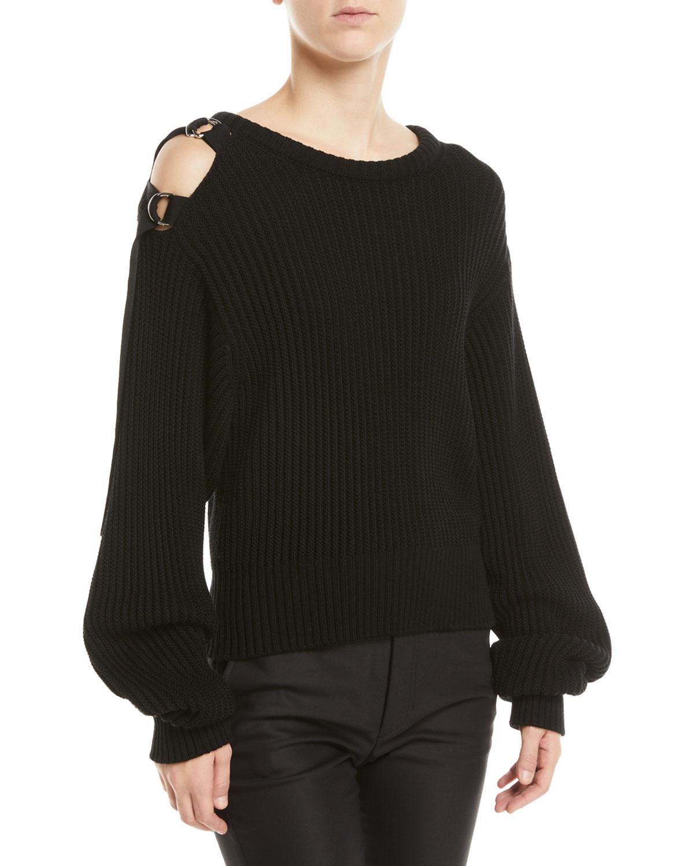 fad3bffcb28332 Helmut Lang Buckle-Shoulder Rib Knit Sweater In Black | ModeSens