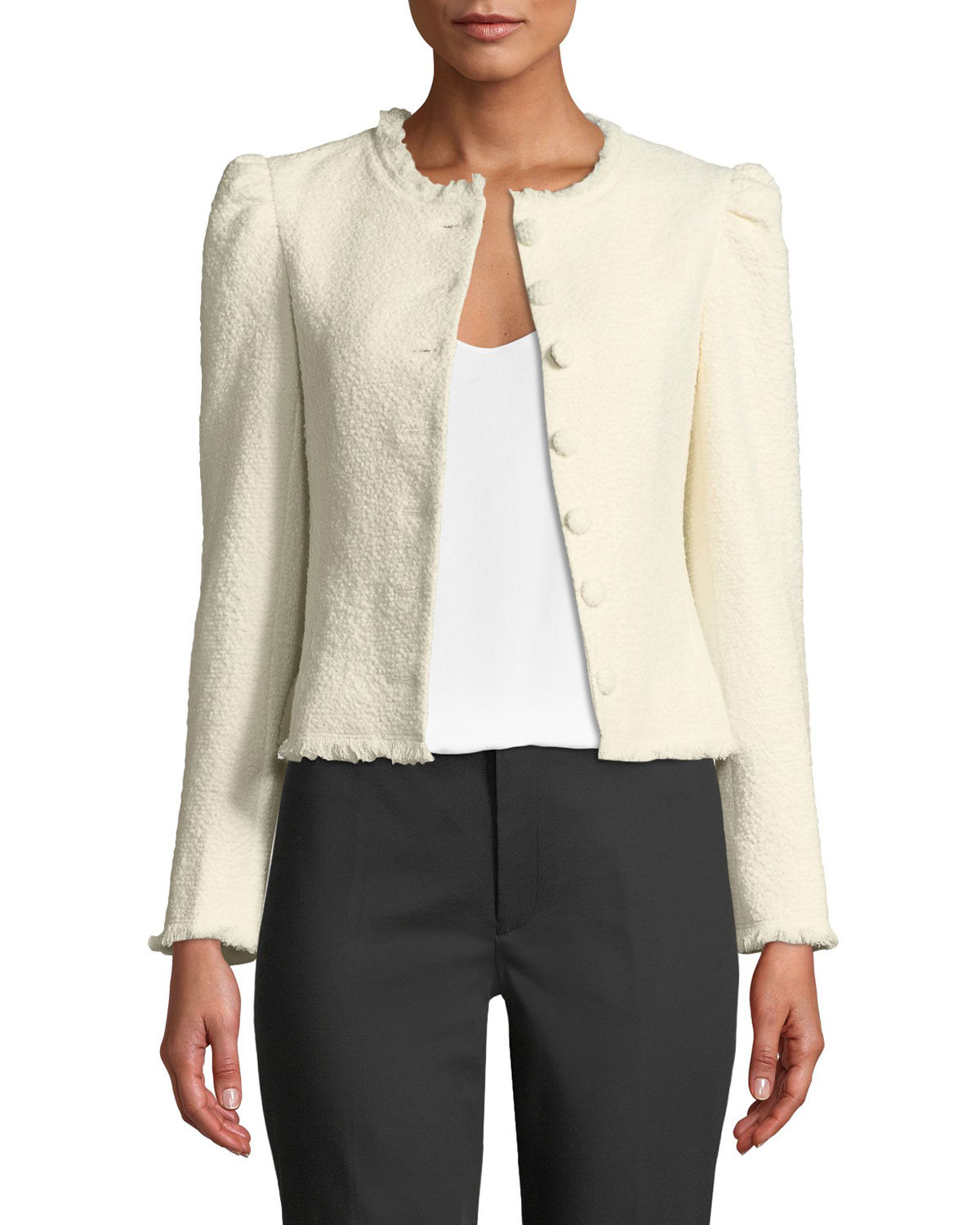CLUB MONACO Milah Textured Puff-Shoulder Cropped Jacket in Ivory