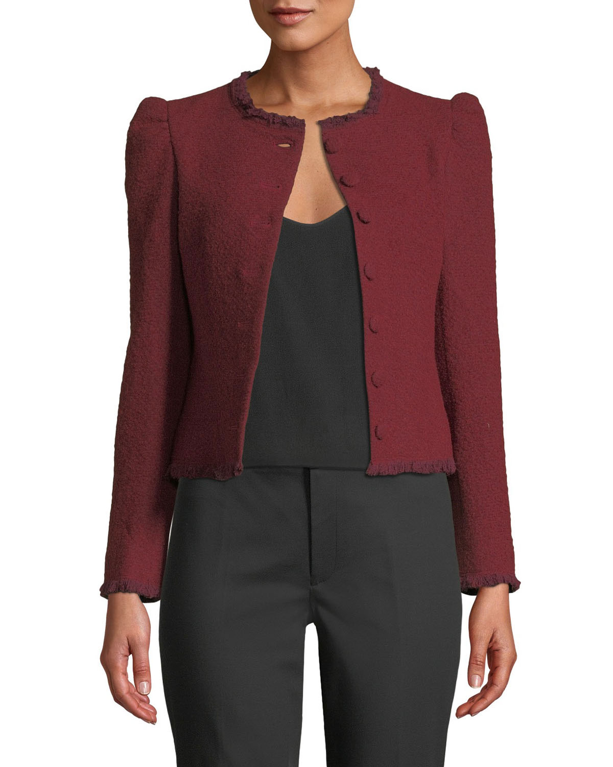 CLUB MONACO Milah Cropped Puff-Shoulder Jacket in Red
