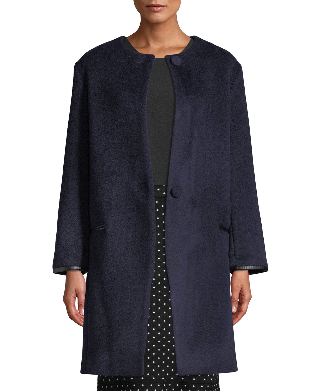 CLUB MONACO Gabita Collarless Two-Button Wool Coat in Navy
