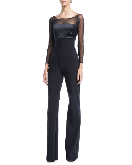 Chiara Boni La Petite Robe Eke Long-Sleeve Illusion Jumpsuit