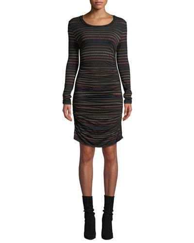 Daphne Striped Metallic Long-Sleeve Dress