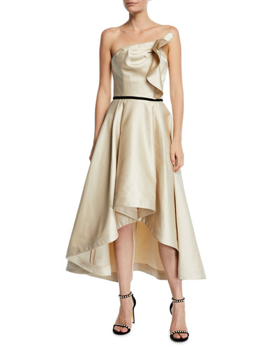 Amberose Strapless Satin High-Low Dress