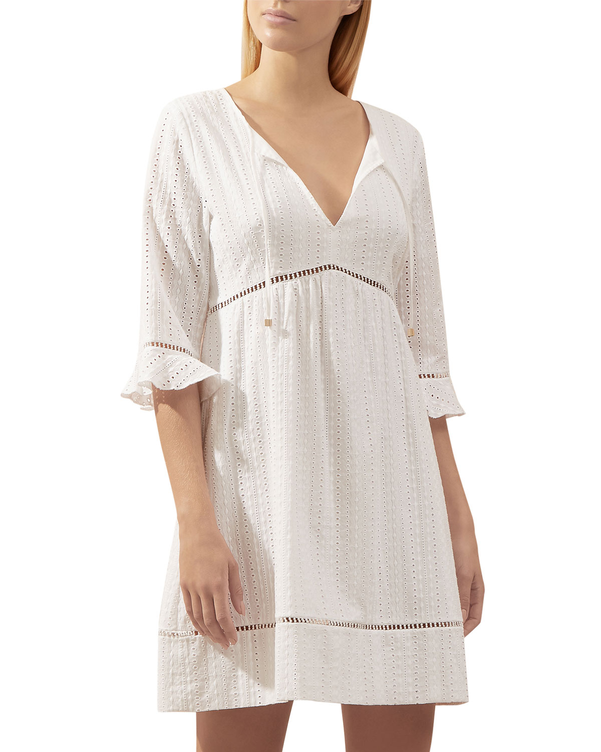 Palermo Eyelet 3/4-Sleeve Mini Kaftan in White