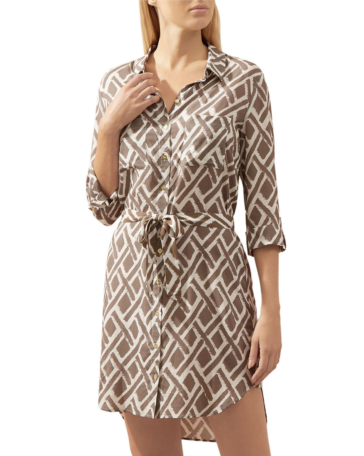 Cote D'Azur Relaxed Coverup Shirtdress in Multi