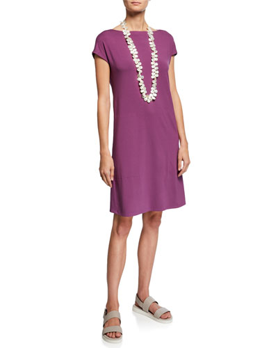 Bateau-Neck Cap-Sleeve Jersey Dress w/ Twist Detail