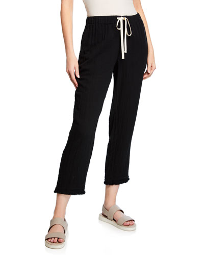 Petite Drawstring Cropped Gauze Pants