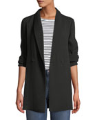 Eileen Fisher Long-Sleeve One-Button Double-Breasted Silk Sponge