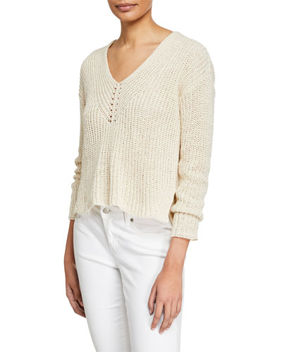V-Neck Long-Sleeve Textured Tape-Yarn Sweater