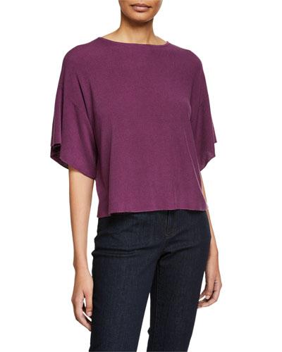 Bateau-Neck Elbow-Sleeve Sweater