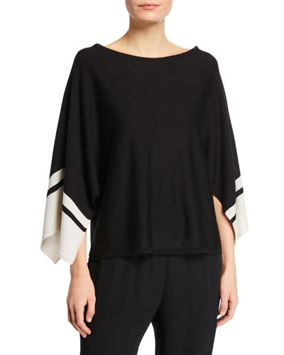 Petite Bateau-Neck Striped-Sleeve Sweater