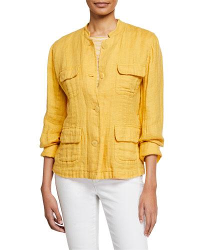 Plus Size Button-Front Double-Weave Cotton Jacket w/ Pockets