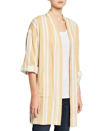 Plus Size Striped Open-Front Double-Weave Cotton Kimono Jacket