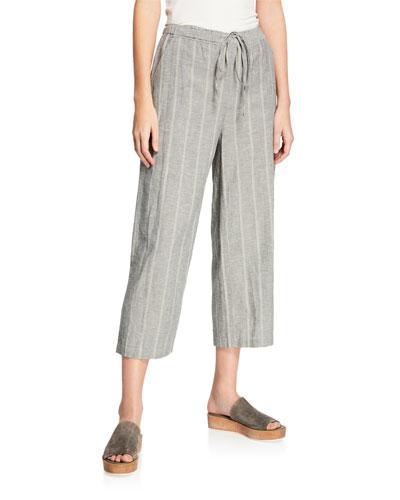 Petite Striped Wide-Leg Cropped Drawstring Pants