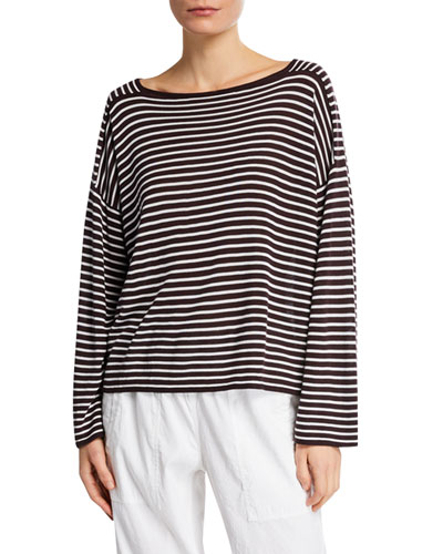Plus Size Bateau-Neck Striped Long-Sleeve Sweater