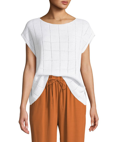 Petite Textured Organic Linen Cap-Sleeve Sweater