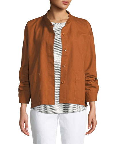 Petite Button-Front Long-Sleeve Boxy Canvas Jacket