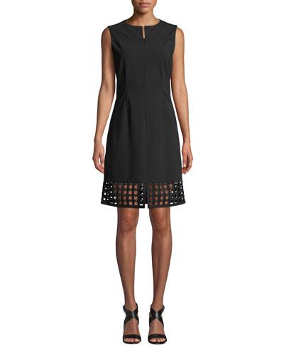 Studded Lattice-Hem Sleeveless Dress