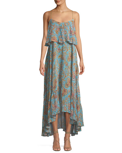 Tiered Viscose Ruffle Sleeveless Midi Dress