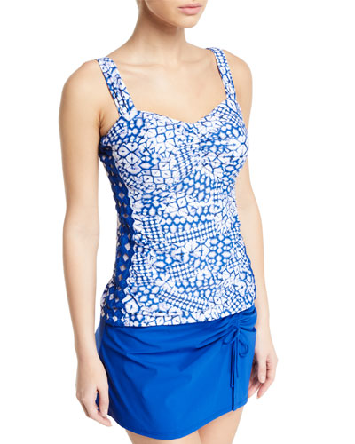 Diamond Batik D-Cup Ruched Tankini Swim Top
