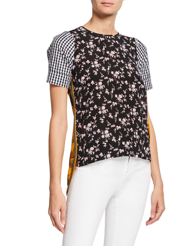 Multi Patterned Short-Sleeve Silk Top