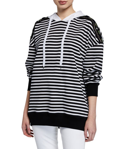 Cotton Stripe Drawstring Hoodie w/ Embellishments