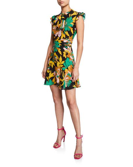 No. 21 Floral-Print Cap-Sleeve Silk Dress