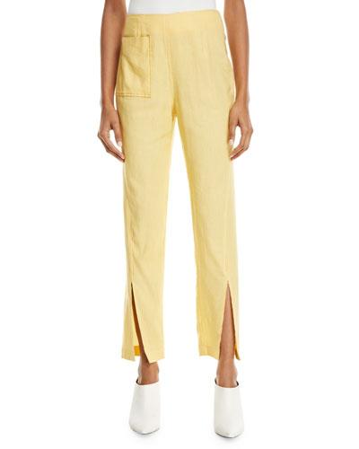 Miller Slim Slit-Front Linen Trousers