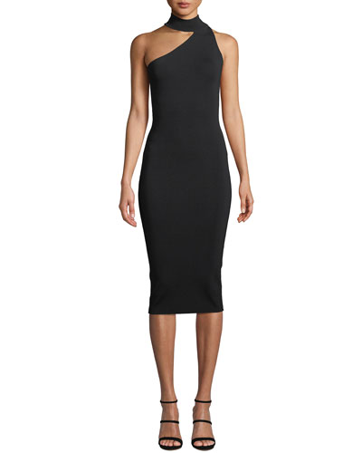 Annecy Asymmetric Mock-Neck Sleeveless Body-Con Midi Dress