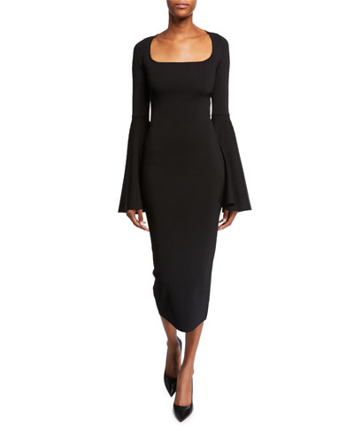 Serra Scoop-Neck Bell-Sleeve Midi Dress