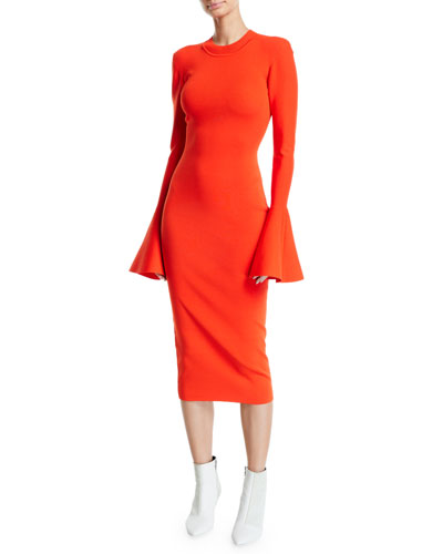 Quick Look. Solace London · Corvo Crewneck Long Bell-Sleeve Midi Dress.  Available in Red 190d0af4f