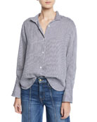 FRAME Clean-Collared Striped Linen Button-Down Shirt
