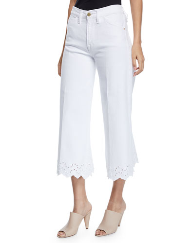 Schiffly Vintage High-Rise Cropped Jeans with Eyelet Hem