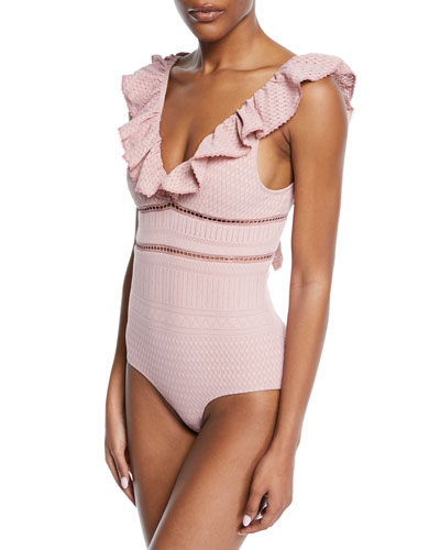 Lace Ruffle V-Neck One-Piece Swimsuit