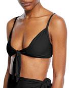 Jonathan Simkhai Tie-Front Triangle Bikini Swim Top