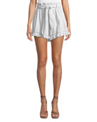 Jonathan Simkhai Embroidered Ruffle High-Waist Shorts