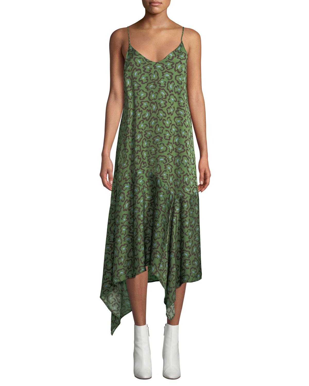 CHRISTIAN WIJNANTS Dista Leopard-Print Handkerchief Slip Dress in Green Pattern