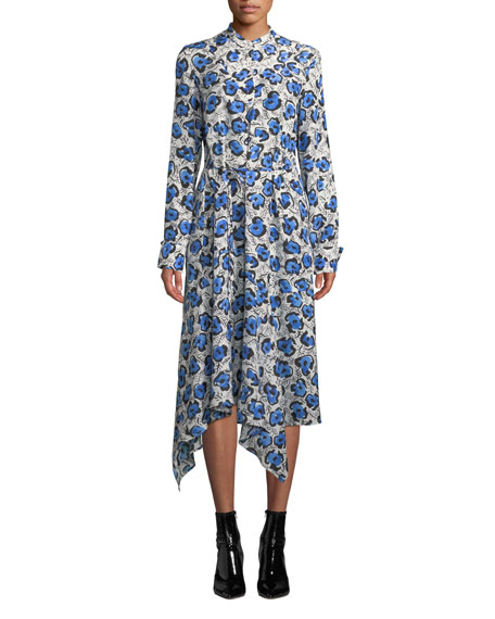 Christian Wijnants Domi Long-Sleeve Floral Handkerchief Shirtdress