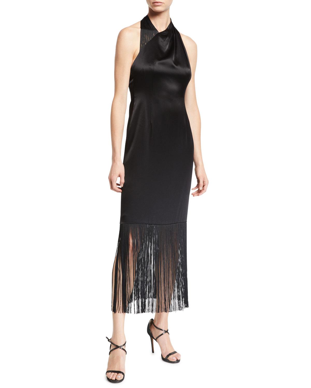 Fringed Tea Length Cocktail Dress in Black
