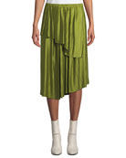 Christian Wijnants Suzu Draped Asymmetric Plisse Midi Skirt