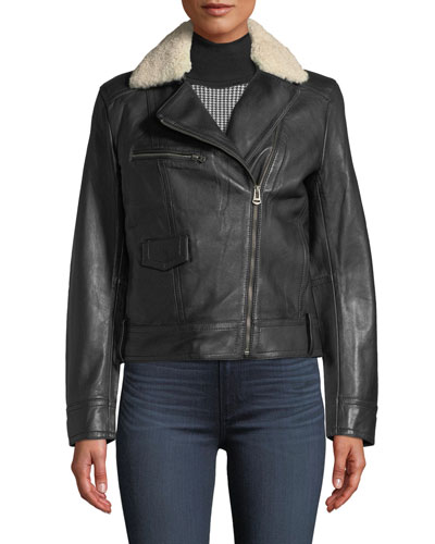 Bonded Leather Moto Jacket w/ Shearling Fur Trim