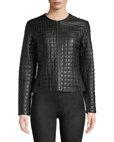 Quilted Collarless Leather Moto Jacket