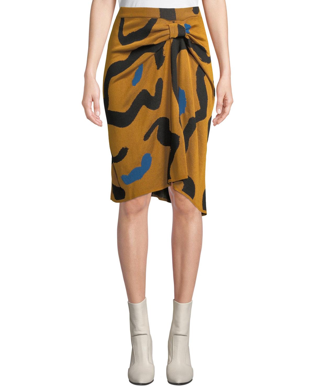CHRISTIAN WIJNANTS Kazu Draped Leopard-Print Jacquard Sweater Skirt in Black Pattern