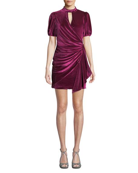Parker Artie Gathered Velvet Short Dress