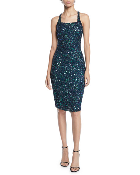Parker Sage Sequin Halter Crisscross Dress