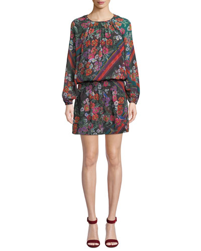 Christina Floral-Print Blouson Long-Sleeve Dress