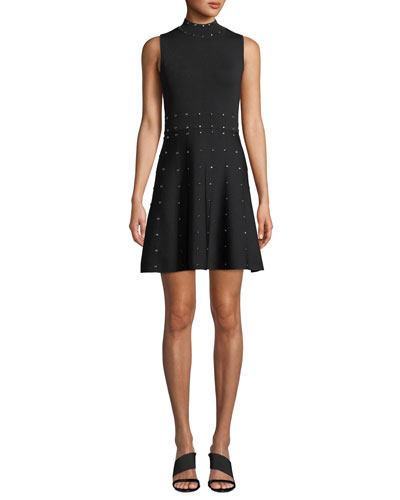 Joy Studded Knit High-Neck Sleeveless Dress